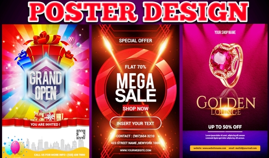 design professional and creative poster  for your brand and business