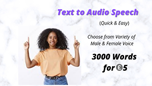 I will convert your text document to high-quality speech, voice, or audio file within 24 hours
