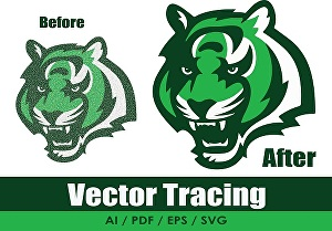 I will convert to vector, vector trace, vectorize logo, redraw, recreate, image to vector