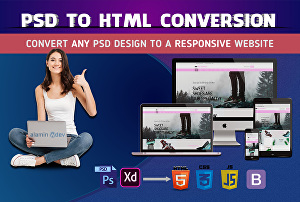 I will convert sketch to HTML, PSD to HTML one page website or landing page