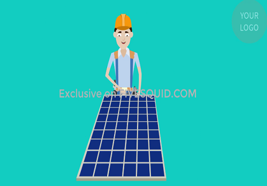 make solar panel power or energy 2d animated promo video