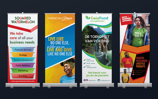 Design Corporate Roll Up Banner Design Stand with Free PSD Source File