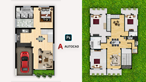 I will make 2D architectural floor plan in Autocad with impressive photoshop render