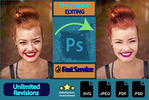 I will do photoshop editing  retouching, color correction and Remove background