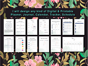 I will design  printable planner,  journal, calendar, tracker and schedule