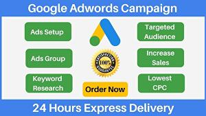 I will setup Effective Google Adwords PCC Ads Campaign With Targeted audience Research