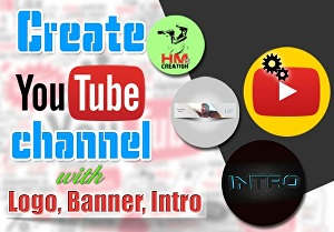 I will design a youtube channel art and logo for you