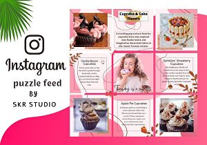 I will design stylish instagram puzzle feed post