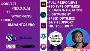 I will convert your design PSD or HTML to WordPress using elementor pro