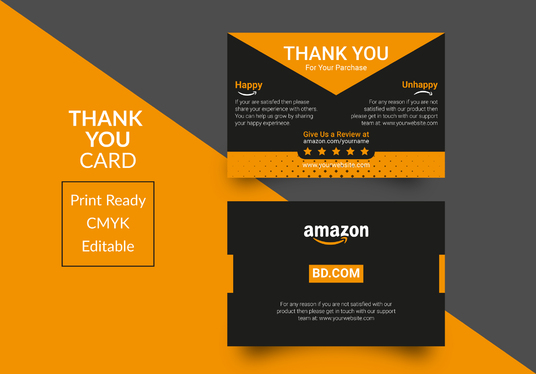 design creative amazon thank you card, package insert, product insert
