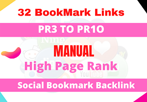 I will Manually Submit Your Website to 32 PR3 to PR10 Social bookmarking sites with login details