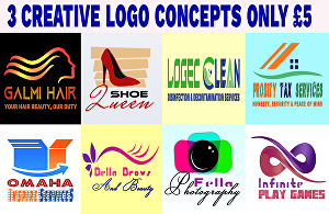 I will design creative modern logo with 3 concepts