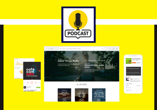 create a 3 pages modern and responsive podcast website for you