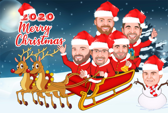 cccccc-draw an amazing Christmas caricature cartoon
