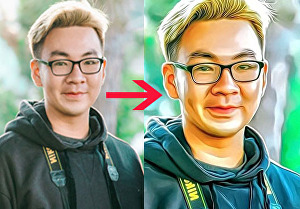 I will convert your 3 images into a professional Cartoon portrait, pencil sketch, oil painting, e