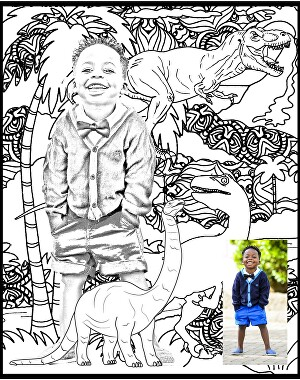 I will make a personalized coloring page of your child or pet or you