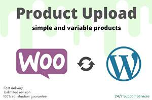 I will do product listing upload, add products to your woocommerce store
