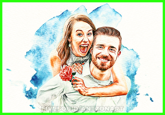 draw realistic portrait, couple, family digital art illustration, oil paint as a gift