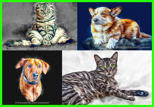 draw realistic portrait cat, dog, animal, or any pets in oil paint as a gift