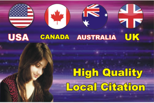 create 100 citations for your business for USA, CANADA, AUS,UK