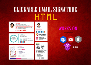 I will create a clickable HTML email signature for iPhone, Outlook, and Gmail