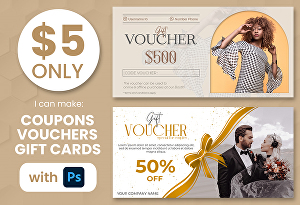 I will design elegant gift voucher, coupons, postcards