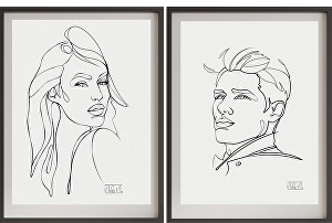 I will Draw Artistic One Line Portrait from Your  Photo