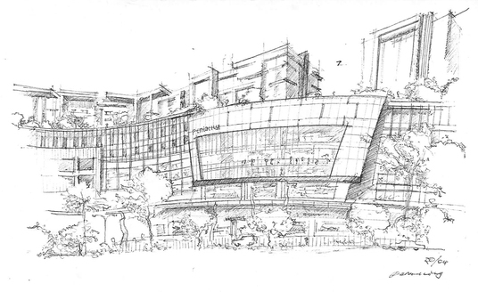 sketch architectural view of building, house, urban, landscape