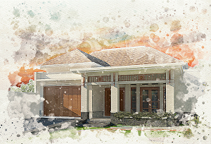 I will create watercolor portrait for architecture view, building, house