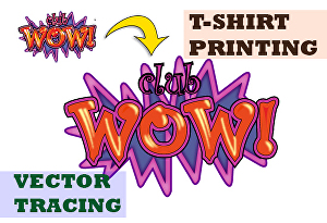 I will Vector trace low-resolution T-Shirt Design for printing