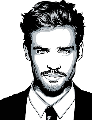 I will  make a detailed vector art portrait in black and white
