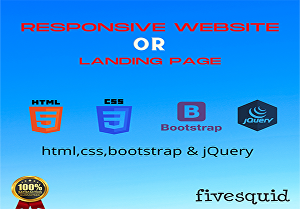 I will Create responsive  website or landing page using HTML CSS Bootstrap