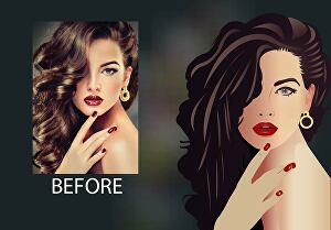 I will draw your cartoon vector portrait, vector art, line art, convert to vector illustration fo