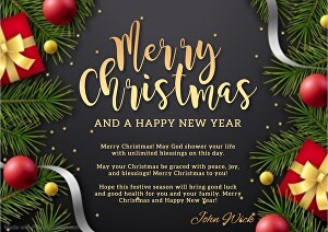 I will make a beautiful greeting card for the new year with your message and name