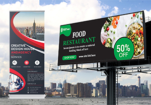 I will design billboard, signage, banner, roll up, yard sign