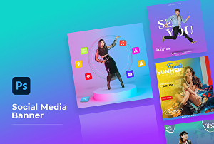 I will create modern social media banner, flyer, brochure design, Banner for advertising