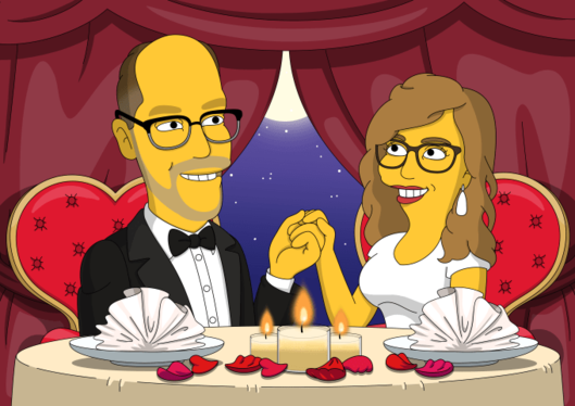 draw portrait gift for lovers in yellow cartoon style simpson