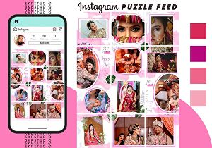 I will design stylish 12 instagram puzzle feed post