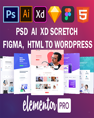 I will convert psd, xd, ai, figma, sketch, html to wordpress website using elementor pro