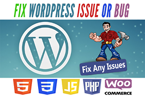 I will fix wordpress issues, errors, bug,  woocommerce error