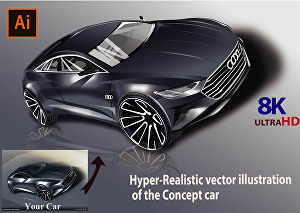 I will draw or render your car, bike, or plane in a Hyper-realistic vector illustration.