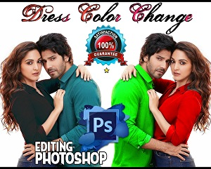 I will Change Dress, Logo, Bike, T-shirt and hair color change in Photoshop