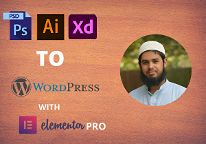 I will convert PSD, Xd, Ai to WordPress using  Elementor pro