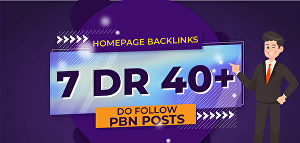 I will Build 7 HomePage Posts DR 40+ Plus PBNs