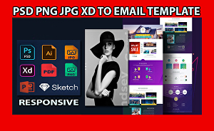 I will convert PSD, pdf, png, jpeg, xd, sketch to HTML email template
