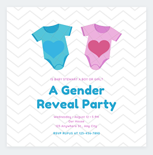 I will design unique card for gender reveal party