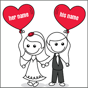 I will write  her name and his name in happy card love