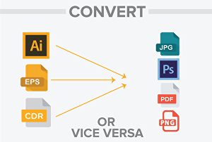 I will convert PNG ,JPEG,CDR,AI,EPS , PDF file or  vice versa