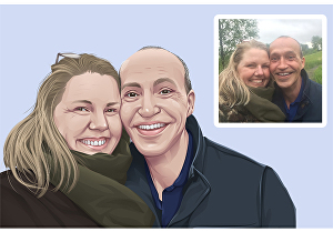 I will make couple cartoon from your photo