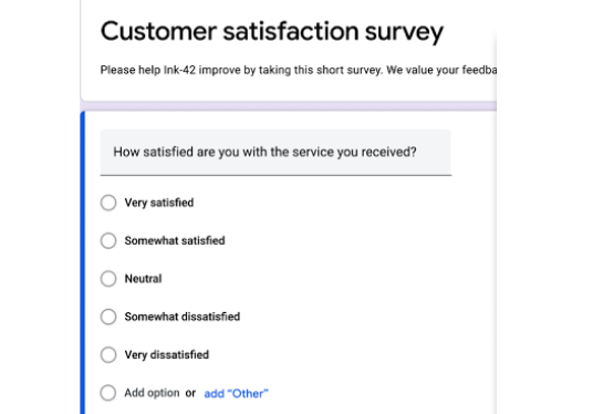 create Survey forms, feedback forms, project forms, Registration Forms